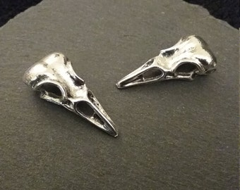 2, 10 or BULK 20 Metal Bird Crow Raven Skulls 3D Heavy Silver Tone 32x14mm