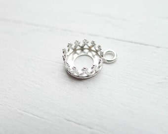 Crown Bezel Drop Link Sterling Silver 8mm Round Gallery Wire Component (CR922011)
