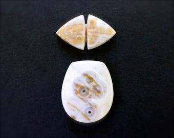 Ocean jasper cabochon set. Pendant cabochon and earrings matched pair.