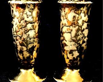 Weeping Gold Porcelain Salt & Pepper Shakers