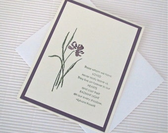 Condolence/sympathy card set (10) handmade stamped those whom we have loved never really leave us Rossetti iris green plum stationery greeti