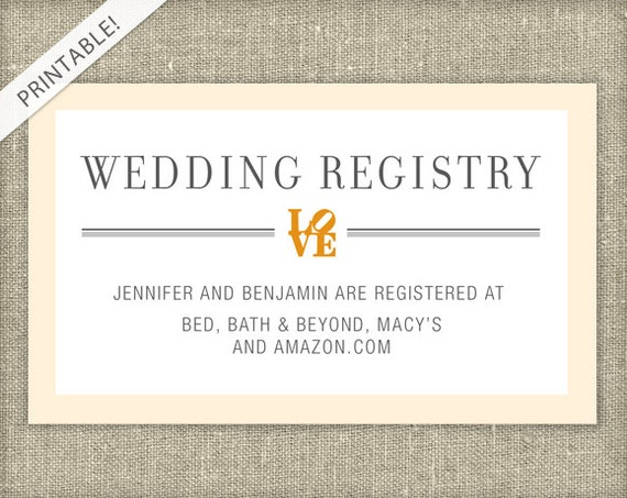 Wedding Registry Card Examples: LOVE Bridal Shower Registry Card Customizable Colors