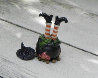 Halloween Miniature Garden Witch Legs, Cauldron,  terrarium accessories, fairy garden accessory, Glittered Witch Hat, Halloween supplies