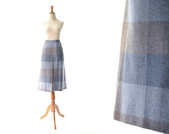 Plaid Skirt, Wool Skirt, Blue Skirt, Purple Skirt,  A line Skirt, Vintage Skirt, Womens Skirt, Schoolgirl Skirt, 1960s Skirt, 60s Skirt