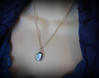 Silver Abalone Spinning Necklace Pendant