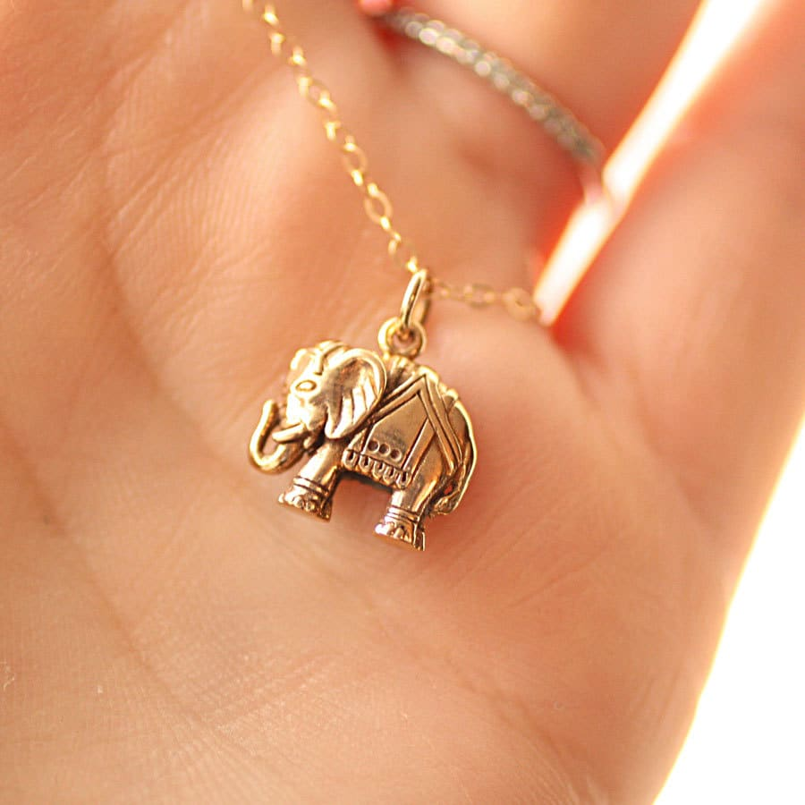 Elephant necklace gold filled chain golden bronze elephant zoom aloadofball Gallery