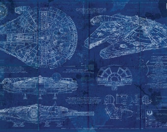 Millennium Falcon Star Wars Poster Blueprint Version 2 (A2 = 420mm*594 or 16.5' * 23.4')