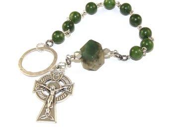 Irish Penal Rosary - An Paidrin Beag - Green Nephrite Jade, Celtic Cross