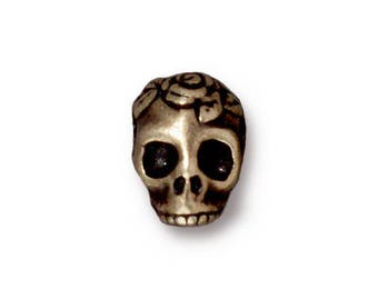TierraCast Antiqued Gold Plated Pewter Skull Rose Bead Gold Plated Skull Beads TierraCast Gold Skulls 10x10mm (1 pc) 63V13