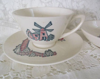 Vintage Marcrest Red Barn Pattern Cup Saucer Plus Dessert Dish