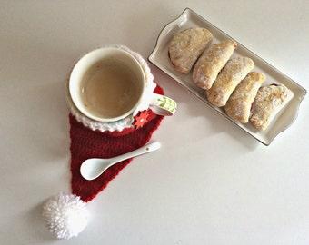 Hat mug cozy, crochet pattern, Santa hat mug cozy, coffee cozy, crochet cozy pattern, tea cozy pattern