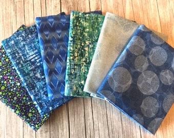 Sale! - Robert Kaufman – Texture Spectrum Fat Quarter BLUE & TEAL Stash Builder Bundle / Geometric, Dots, Swirls, Plaid, Blender Fabrics