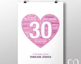 Custom 30th birthday print