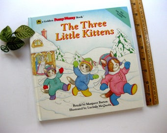 Vintage Golden Fuzzy Wuzzy Book, The Three Little Kittens