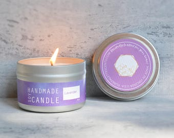 Bulk 6 of 4 oz Soy Candle French Lavender Natural Candle Travel Tin Silver Scented Candle Gift Drop Shipping Free Shipping