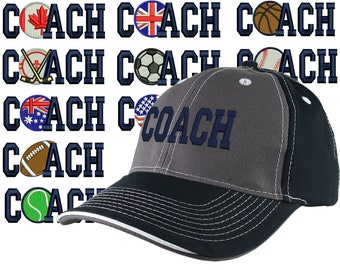 Custom Personalized Coach Embroidery on Adjustable Structured Charcoal Navy Baseball Cap Front Decor Selection + Options for Side and Back