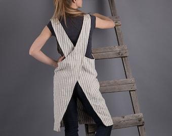 Linen Japanese Apron Dress  Washed Striped Linen Summer Pinafore Linen Artist  Gardener Smock Flax Apron Crossback Flax Tunic
