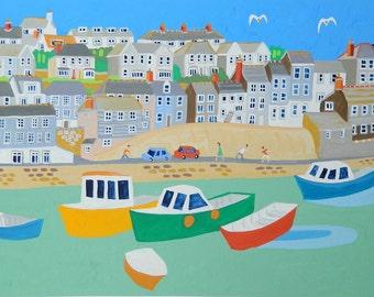 Mevagissey, Cornwall, Original Painting by Cornish Artist Richard Lodey, Seaside View