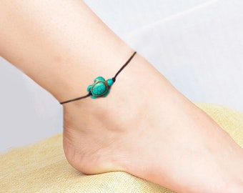 Sea turtle anklet, beach anklet, ankle bracelet, turquoise anklet, Nautical anklet, Boho beach Jewelry, foot jewelry