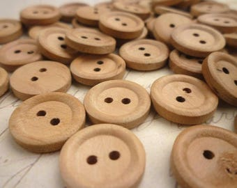 Round Wooden Buttons, 18mm - Natural wood buttons -  Pack of 10