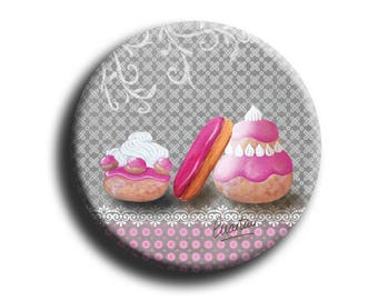 Bag mirror with sweets on grey background print