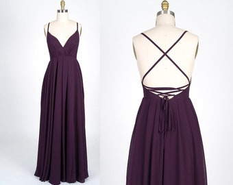 V-Neckline Cross Over Back Chiffon Dress | Bridesmaid dress | Bridal | Wedding | Chiffon dress | Graduation | SZ-730 |