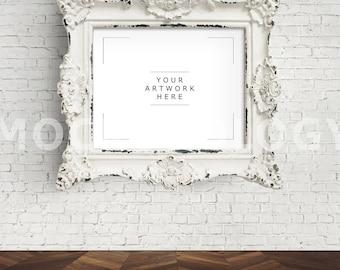 8x10 DIGITAL File Mockup for DIGITAL DOWNLOAD, White Baroque Frame Mockup, Poster Mockup, Digital Frame, Wall Art, Mockup, Styled Photo