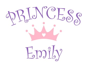 PRINCESS with PERSONALIZED Name and Crown Vinyl Wall Decal - Baby Nursery Wall Art Decor NM-110