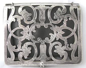 Victorian GermanSilver card case with leather interior