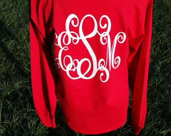 Monogrammed Long Sleeve Tshirt - Personalized Front and Back - Christmas Monogram -