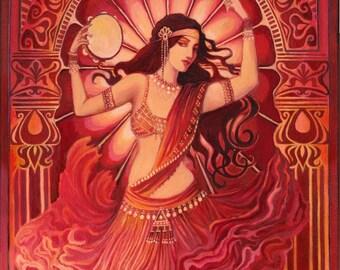 Divine Tarantella 5x7 Blank Greeting Card Fine Art Print Pagan Mythology Belly Dance Gypsy Bohemian Music Goddess Art