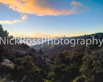 Canvas Print of Sunrise over Valley