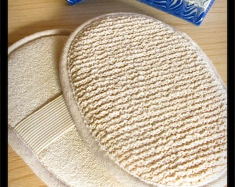 Bath Scrubber Pad • Boucle Ramie & Cotton Nubby Scrub Pad • Spa Tool •  For Men Women Teens • Soap Accessory Gift Basket