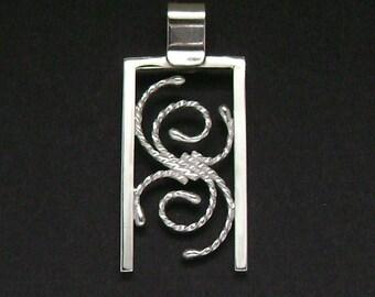 Sterling Silver Contemporary Filigree Pendant