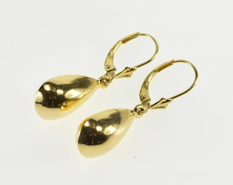 14K Puffy Ridged Teardrop Dangle Lever Back Earrings Yellow Gold