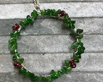 Chrome diopside etsy chrome diopside certified rough nugget gemstone leafy wreath pendant silver necklace aloadofball Image collections