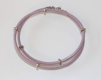 Leather Bracelet Double 3 mm pink with silver beads and carabiner buckle bracelet women's friendship bracelet wrap bracelet Leather