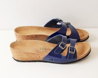 Womens Sandals  Birkenstock  Papillio Two Straps Sandals Cork Sole Summer Shoes Slides Gold Slip Size EUR 36 -37/ US 5.5-6 Made in Germany