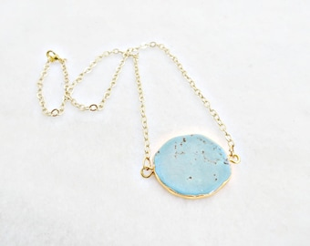 Southwest Necklace Gold Plated Turquoise Slab Howlite Stone Gold Chain Freeform  Native American Turquoise Necklace Turquoise and Gold Chic