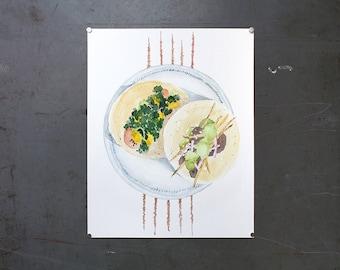 watercolor original painting | tacos