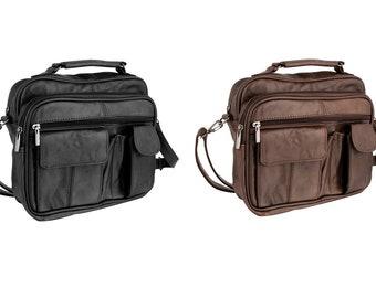 Leather Multi Pocket Medium Size Travel Bag Top Carry Handle