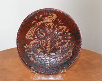Vintage 1994 David Eldreth Pennsylvania Dutch Red Ware Partridge in a Pear Tree Pottery Shallow Bowl/Plate