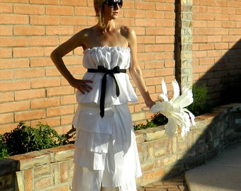 30s Wedding Dress-40s Wedding Dress-50s Wedding Dress-Bride Clothes-Le Bonjour Tissue Linen Top-Chic Modern Womens Clothing-Many Body Sizes