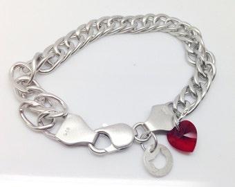 Curve Chain Link Bracelet Sterling Silver 925 Rhodium Plated - Swarovski Crystal