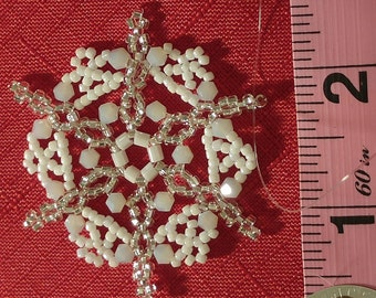 Silver and White Beaded Snowflake Ornament