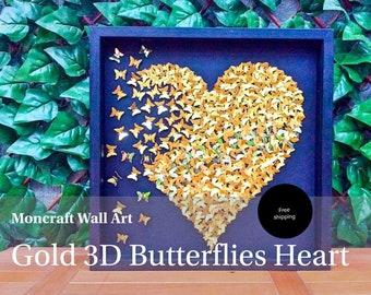 Paper Butterflies  3D Butterfly heart  butterflies  Gold butterflies   butterfly wall art   butterfly frame   paper butterfly decor