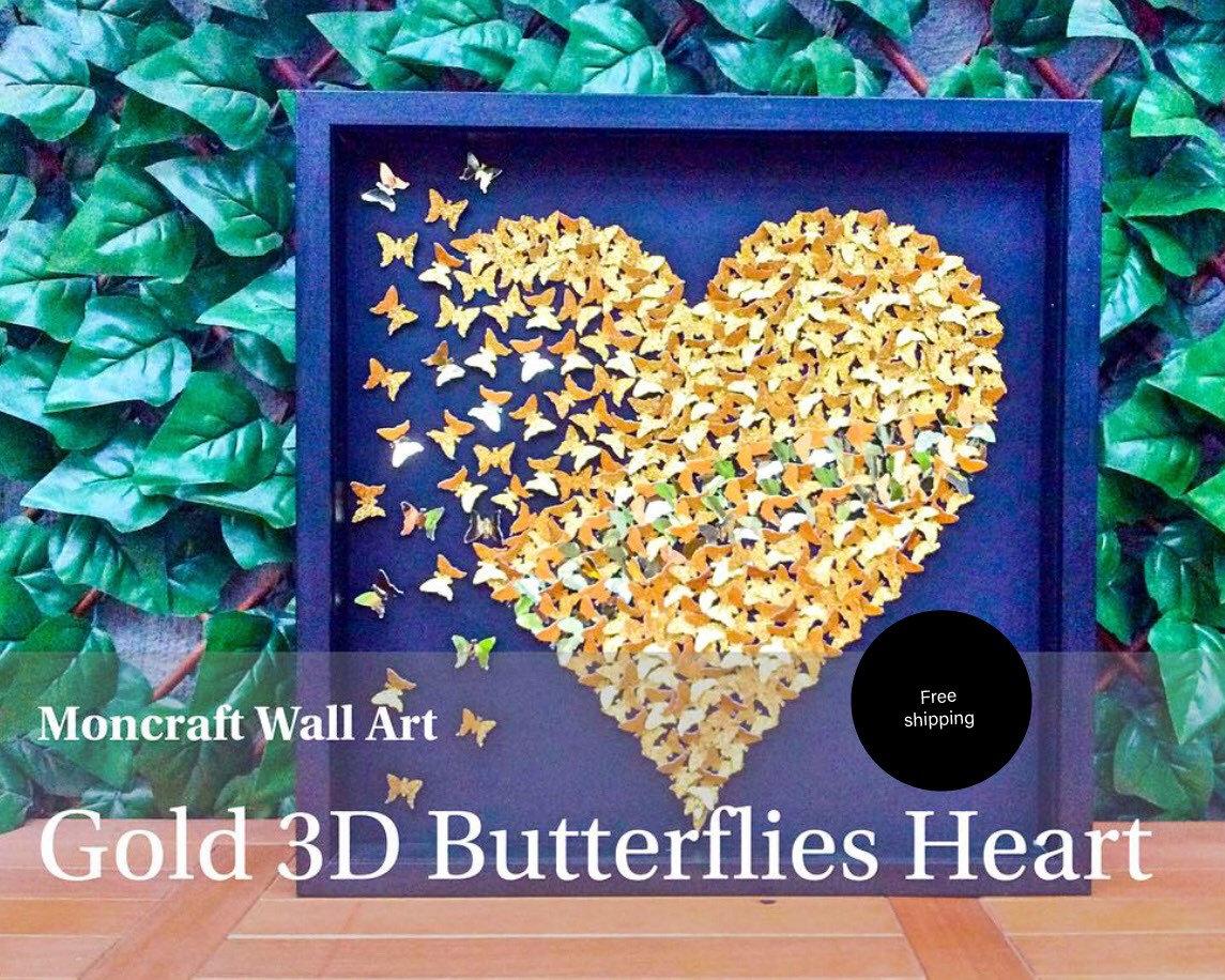 Paper Butterflies 3D Butterfly heart butterflies Gold