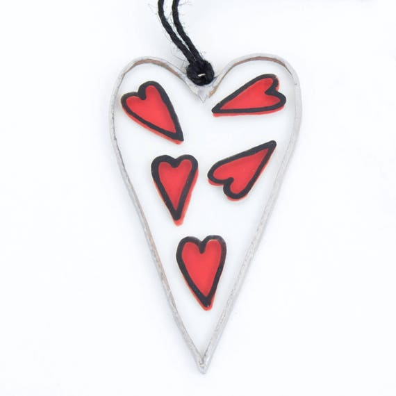Heart. Valentine's Day. Love glass ornament to hang in the window, wall or ceiling. Stained glass Tiffany. Ready to ship