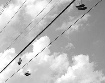 Photography, Black and White, Sneakers, Sky, Wall Art, Art