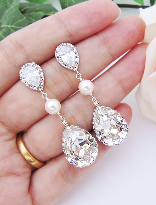 Bridal Earrings Swarovski Crystal with Pearl Drop Earrings